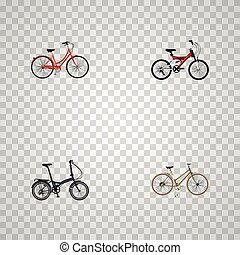 Realistic Adolescent, Retro, For Girl And Other Vector Elements. Set Of Bike Realistic Symbols Also Includes Girl, Retro, Old Objects.