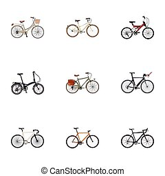 Realistic Old, Road Velocity, Folding Sport-Cycle And Other Vector Elements. Set Of  Realistic Symbols Also Includes Adolescent, Vintage, Triathlon Objects.