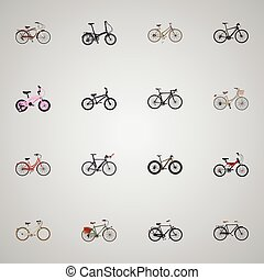 Realistic Folding Sport-Cycle, Competition Bicycle, Hybrid Velocipede And Other Vector Elements. Set Of Bicycle Realistic Symbols Also Includes Kids, Woman, Old Objects.