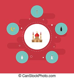 Flat Icons Minaret, Mosque, Praying Man And Other Vector...