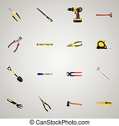 Realistic Pliers, Chisel, Length Roulette And Other Vector...