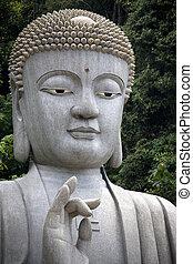 géant, granit, Bouddha, statue