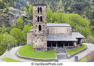 Sant Joan de Caselles Church in Canillo. Andorra la Vella,...