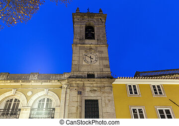 Church in Sintra seen at night. Sintra, Lisbon, Portugal