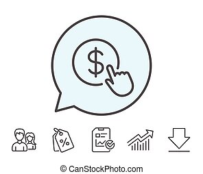 Hand Click line icon. Currency exchange sign.