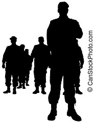 Police man four - People of special police force on white...