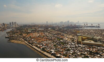 Aerial view slums of Manila, the poor district. Philippines,...