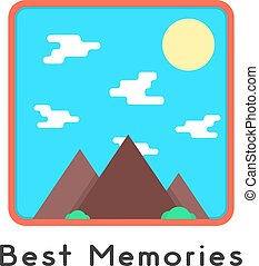 magnet like photoframe with mountains. concept of...