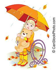 Little girl and Teddy Bear under