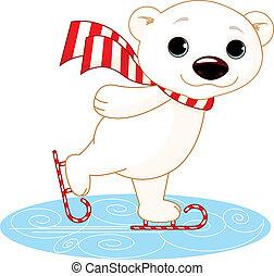 Polar bear on ice skates - Illustration of cute polar bear...