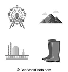 park, oil refinery and other monochrome icon in cartoon...
