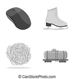 technology, travel and other monochrome icon in cartoon...