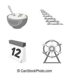 cooking, transport and other monochrome icon in cartoon...