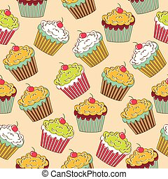 sweet seamless pattern with cupcakes