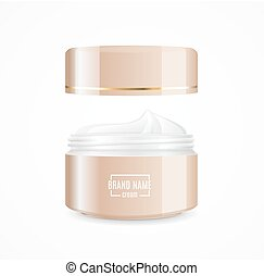 Realistic Cream Can Cosmetic Product Open. Vector -...