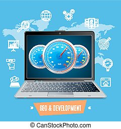 Site Speed Test Concept Seo and Development. Vector
