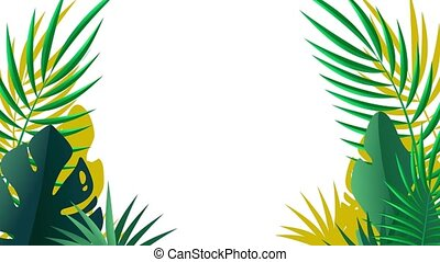 Palm leaves closeup. Tropical background decoration for...