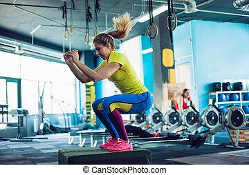 caja, entrenamiento, mujer, saltar, camiseta, gimnasio,...