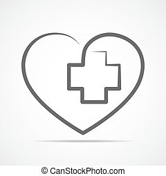 Heart with Medical cross. Vector illustration.