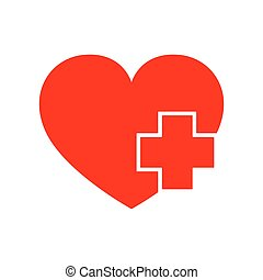 Heart with Medical cross. Vector illustration
