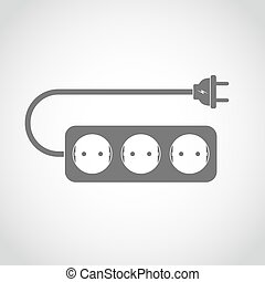 Power extension cord. Vector illustration. Simple gray...