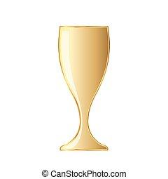 Wine glass icon. Vector illustration. - Golden wine glass...
