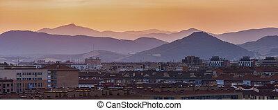 Panorama of Pamplona at sunset. Pamplona, Navarre, Spain.
