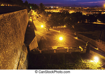Old city walls in Pamplona. Pamplona, Navarre, Spain.