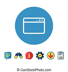 Browser window icon. Internet page sign. - Browser window...