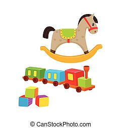 Baby wooden toys train, rocking horse, blocks