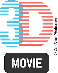 simple 3d striped icon. concept of cinematography,...