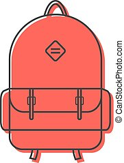 red backpack thin line icon. concept of camping recreation,...