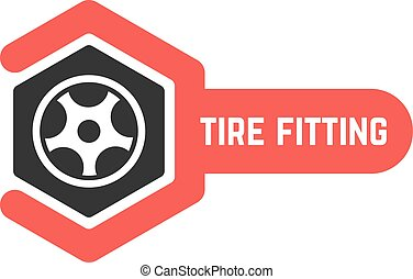 tire fitting logo with wrench. concept of 24 hour support,...