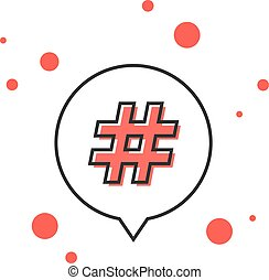 thin line hashtag icon in outline bubble. concept of number...