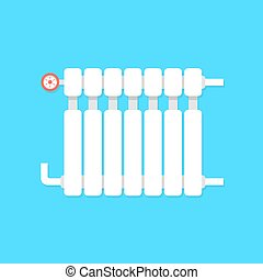 radiator icon with temperature regulation. concept of...