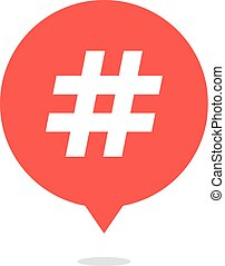 red speech bubble with hash tag and shadow. concept of...