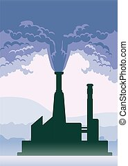 Environmental pollution poster. Smoke from a factory chimney. Vector illustration with copy space.