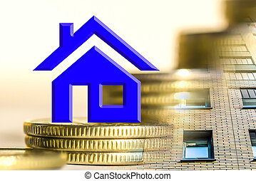 The symbol real estate on a background of money . The...