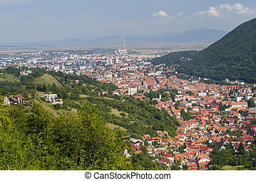 Aerial view of old part of Brasov, Romania - Beautiful up...