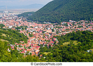 Mountain cityscape - Cityscape of old part from Brasov, city...