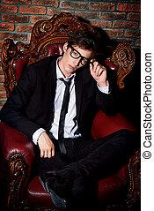 glamorous dandy man - Glamorous sexy young man in elegant...