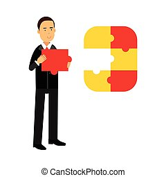 Businessman character assembling colorful jigsaw puzzle vector Illustration