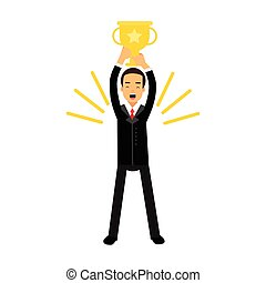 Businessman standing and holding winner golden cup over his head, business challenge and success vector Illustration