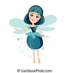 Beautiful fairy with wings, long hair and dress in cerulean...