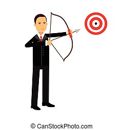 Businessman character aiming target with bow and arrow, business challenge and success vector Illustration