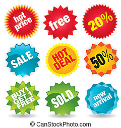 Sale - Set of colorful vector sale stickers and tags. More...