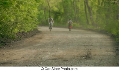 Father and Son Riding Bicycles on Dusty Wood Road - Father...