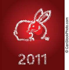 New Year's white rabbit on a red background. A vector...
