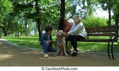 Positive family resting in the park with their dog
