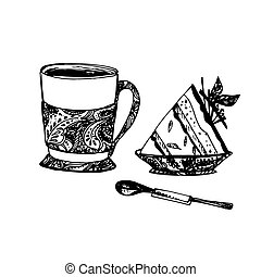 Sketch of Food - Hand Drawn Sketch of Tea Cup with Delicious...